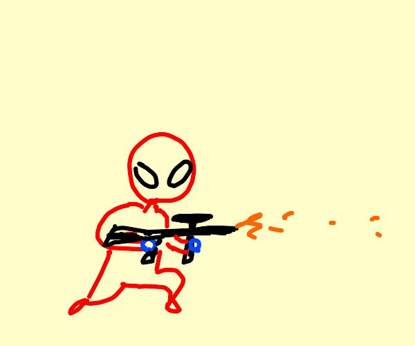 Spideman's got a gun