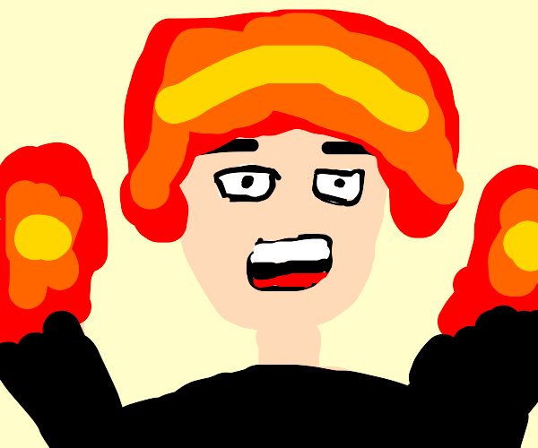 red haired anime person with fire hands