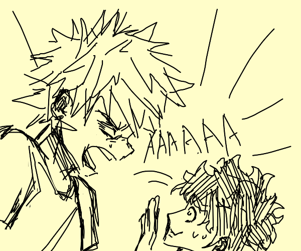 Katsuki screams at Deku