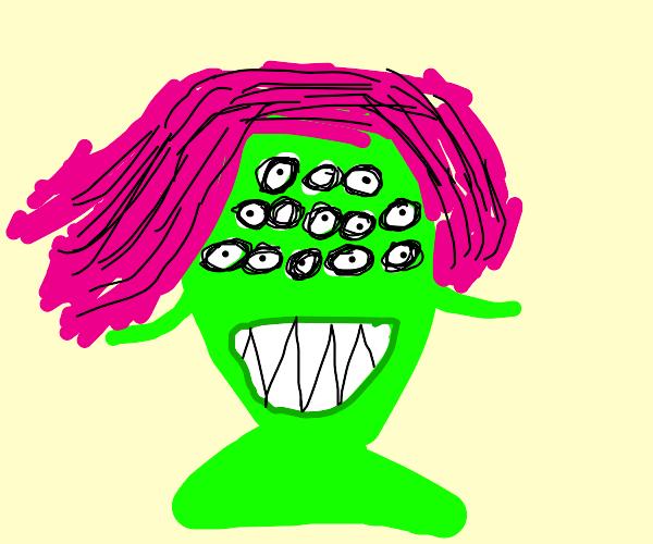 Pink haired multiple eyed alien