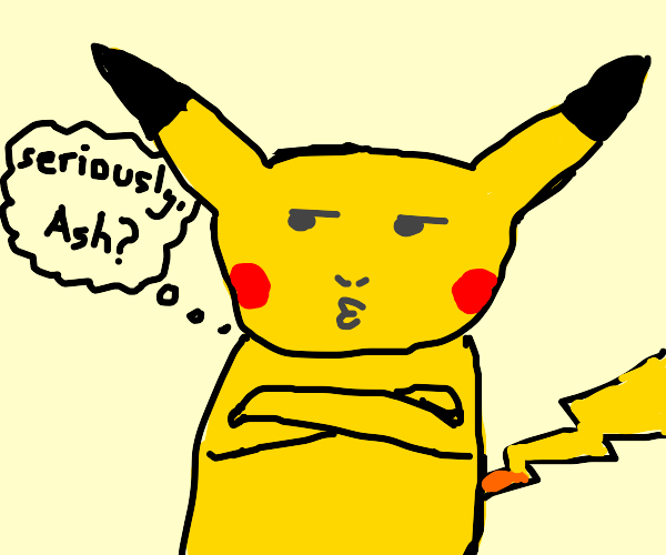 disappointed anime pikachu
