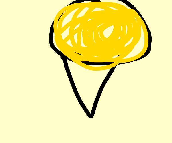 Ice cream cone with gold