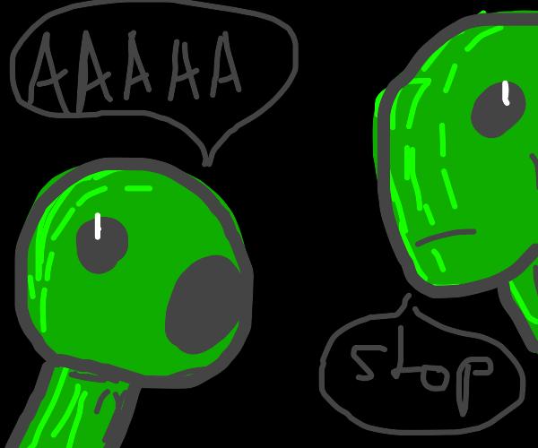 Green screaming child