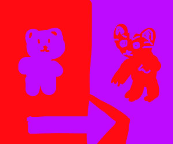 purple bear turns into red raccoon