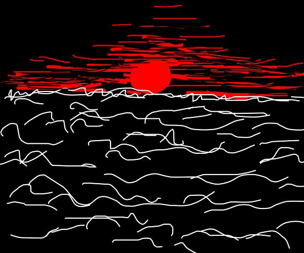 red sunset on beach