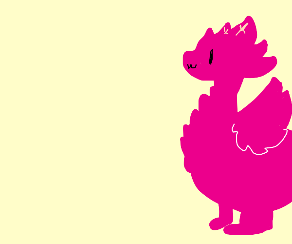 Magical pink angelic dinosaur dragon