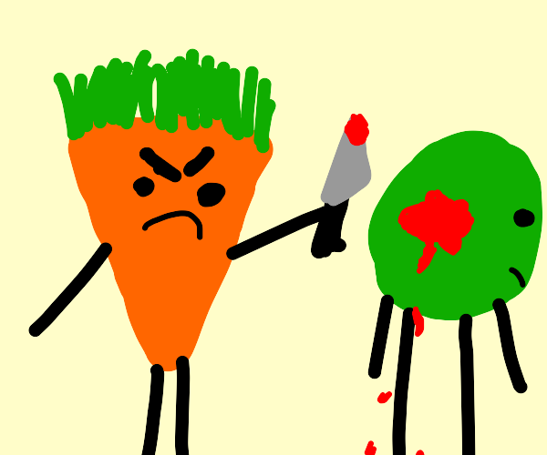 carrot stabbing peas in the back :(