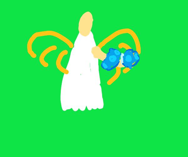 Angel has a butterfly