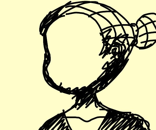 Faceless girl has net hair