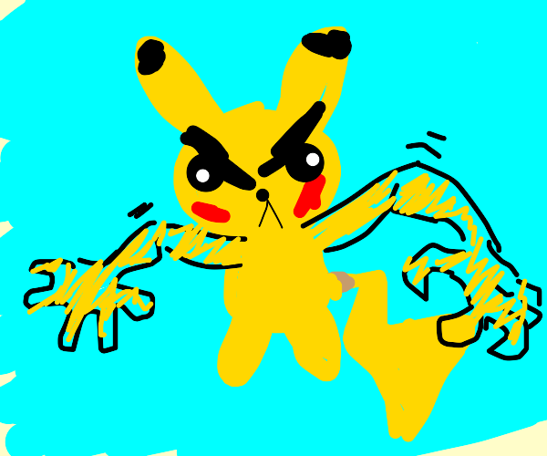 Pikachu with human arms is angery