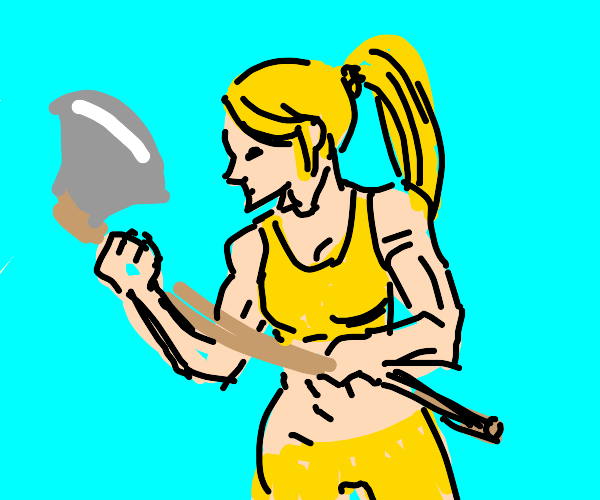 Muscular woman with axe