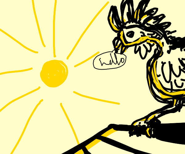 A rooster greets the sun