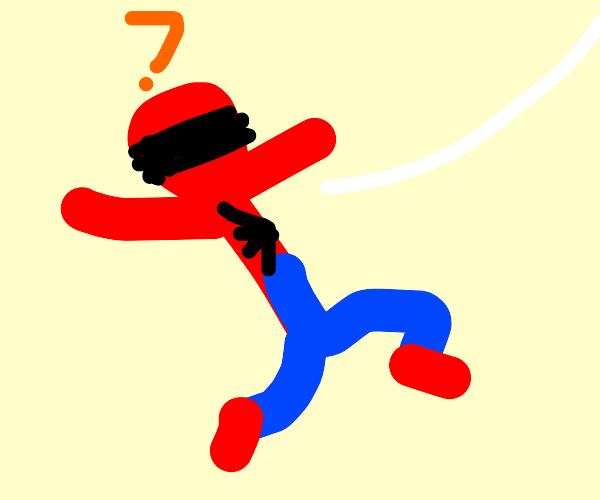 Spiderman is blindfolded
