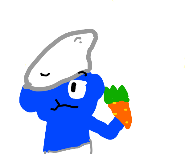 Hipster smurf eats a carrot
