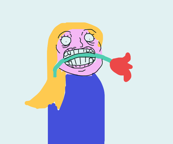 Blonde woman holds flower in her mouth