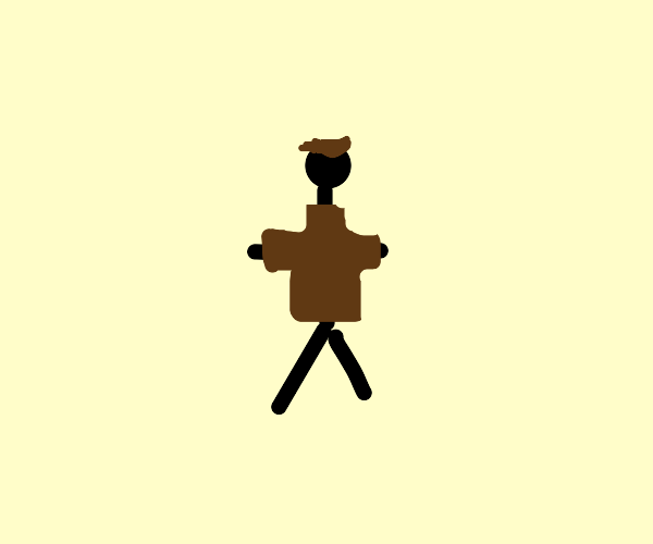 a man with a brown shirt