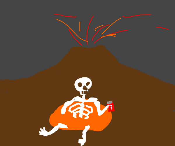 Skeleton just chillin in a lava pool