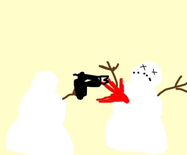 a snowman that is angry with the other snowma