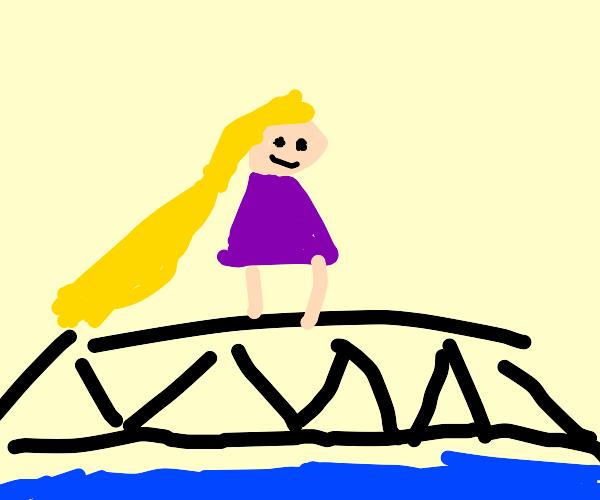 Rapunzel crossing a Bridge