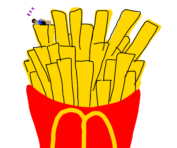 Tiny person sleeping in McDonalds fries