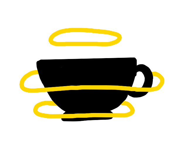 A silhouette of a cup with 3 halos around it