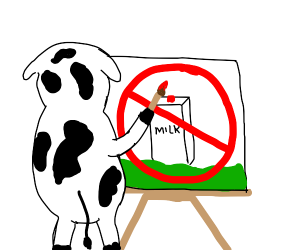 Cow painting a picture