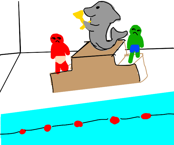 Dolphin won a trophy in a swimming race