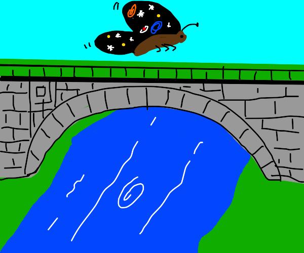 Cosmic butterfly over a bridge