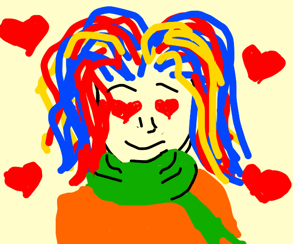 Very colorful woman loves you