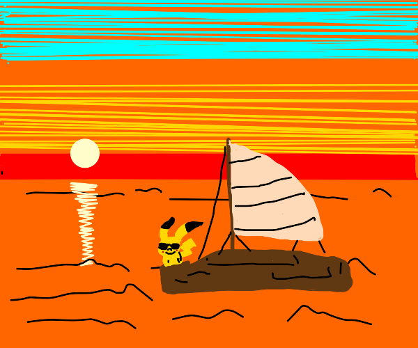 pikachu on a relaxing sunset sail