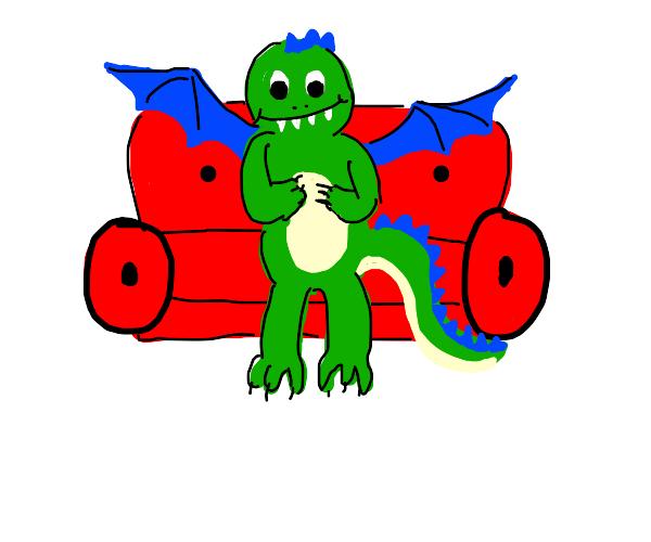 Dragon having a seat