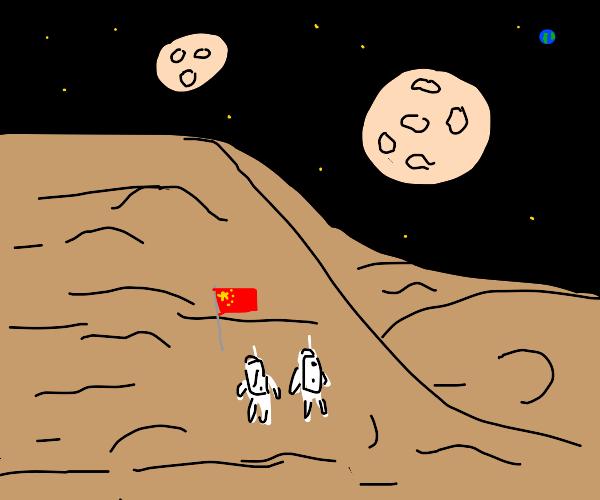 Astronauts on mars near the Chinese Flag