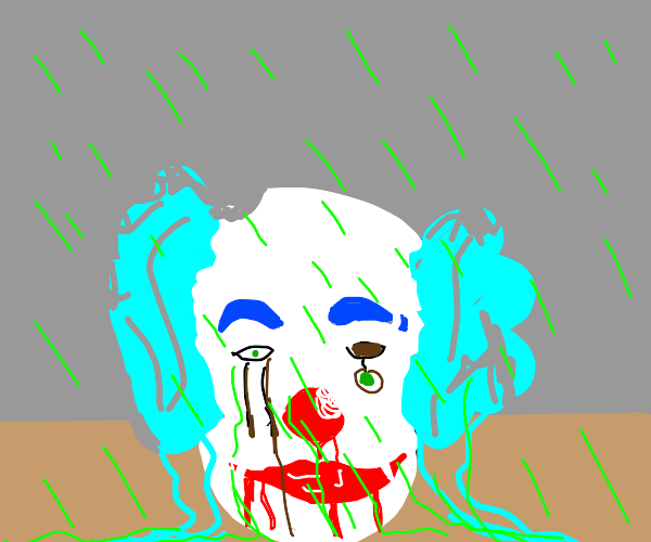 A clown's head in acid rain