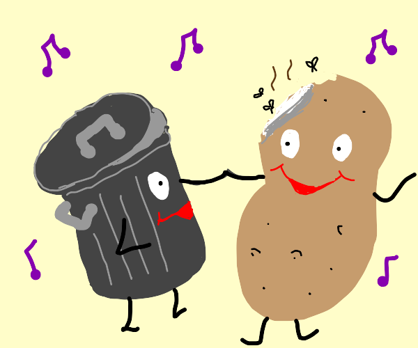 trashcan and rotting potato have a dance