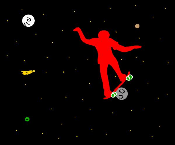 red man skating in space