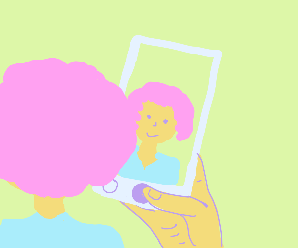 Pink haired girl taking a selfie