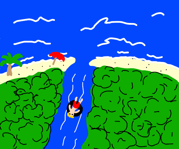 guy floating down river going to the ocean