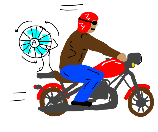 Motorcycle with a built in fan