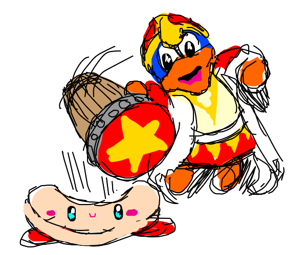dedede about to hit kirby with his hammer