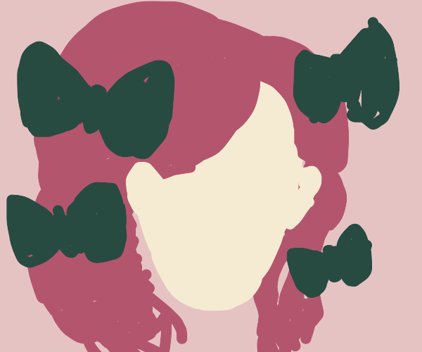 Faceless girl with hair bows