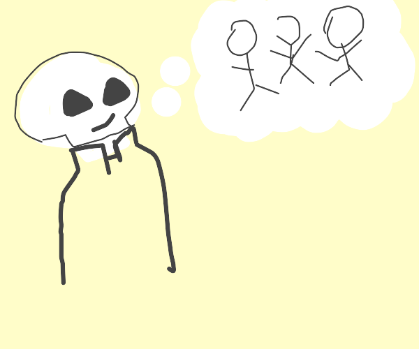 sans happily thinks of stick figures