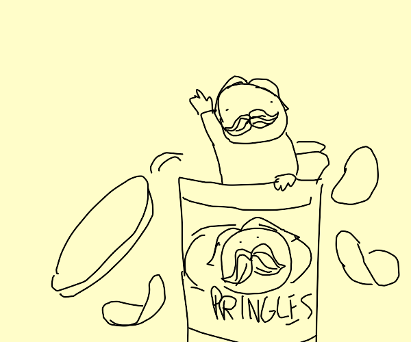 Pringlesman crawls out of a pringles can
