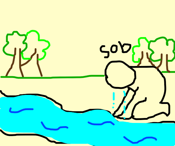 Person's river of tears in the forest