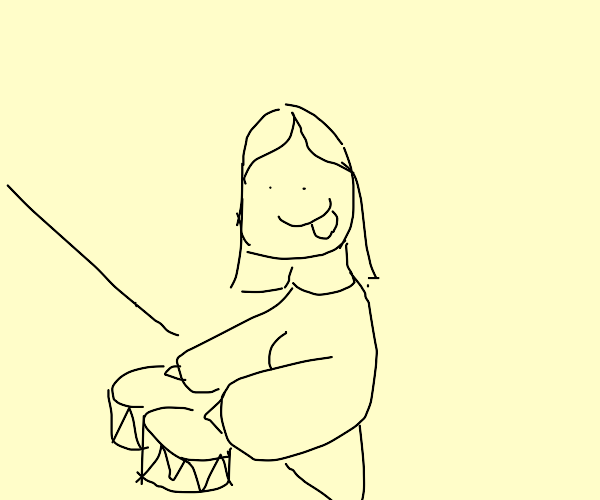 Mona Lisa playing the drums