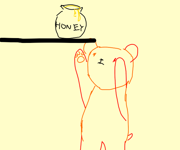 Sad Red and Orange Bear wants your honey