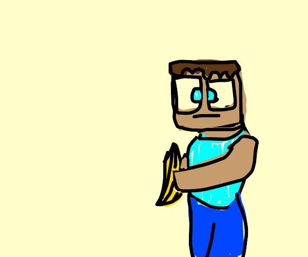 minecraft steve and a banana