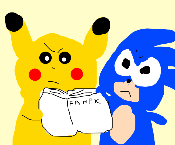 Pikachu and Sonic do not like reading fan fic