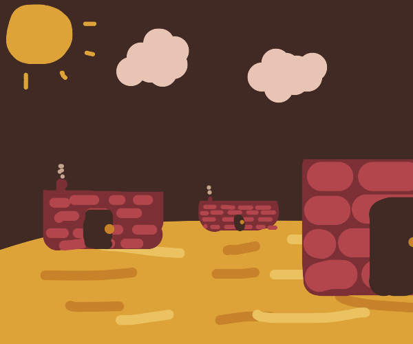 Brick structures in the desert