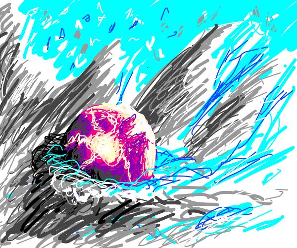 purple orb in snowland