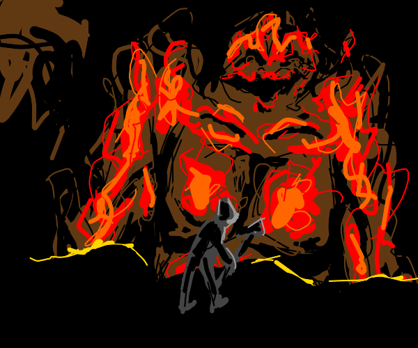 Knight battles giant fire demon